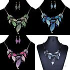 Vintage Women Jewelry Crystal Chunky Statement Bib Leaves Pendant Chain Necklace