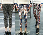 New Men's Trendy Floral Paisley Pattern Slim Stretch Waist Cropped Pants Shorts