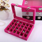24 Slots Velvet Watch Box Jewelry Organizer Glass Top Ring Earring Storage Case