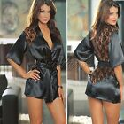 4 Colors Sexy Women Satin Lingerie Lace Sleepwear Nightwear Night Gown G-string