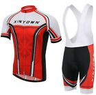 New Red Men Cycling Bike Short Sleeve Clothing Bicycle Jersey (Bib) Shorts S-4XL