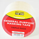 Quality Cream Decorators Masking  Tape 18mm x 25m Triple Pack Fit For The Job