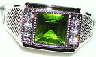 Men's 9mm Peridot & Topaz Platinum Overlay Ring  R2