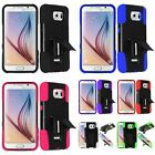 For Samsung Galaxy S6 Dual Layer Hybrid Hard Soft T Stand Kickstand Cover Case