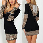 New Womens Long Sleeve Leopard Print Hooded Black Sexy Mini Dress Party Clubwear