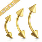 Pair of 16G Matte Gold Spikes Surgical Steel Eyebrow Rings Curve Barbell Tragus