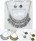 Coins Choker Chunky Statement Bib Necklace Jewelry Chain Pendant Sliver Gold