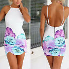 Sexy Womens Floral Party Cocktail Evening Bandage Bodycon Short Mini Dress White