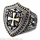 Mens Knight Ring Stainless Steel Gold Renaissance Shield Ring Size 9 10 11 12 13