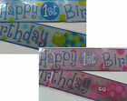 12ft / 3.65m Foil Pink or Blue Happy 1st Birthday Banner Party Decoration First