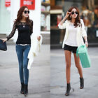 Chic Women Lace Sexy Loose Long Sleeve Shirt Tops Blouse T-Shirt Casual Blouse