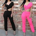 Women Crop Top One Shoulder Backless Sleeveless Clubwear Jumpsuit Black M2597