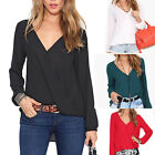 Sexy Summer Women's Loose Chiffon V-Neck Tops Long Sleeve Shirt Casual Blouse