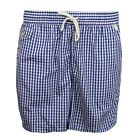 RALPH LAUREN SWIM SHORTS TRAVELER MENS BLUE WHITE GINGHAM PATTERN