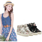 New Women's Thick Sole Casual Floral Print Lace Up High Top Boots Sneakers Shoes
