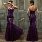 VINTAGE STYLE Mother Mermaid SEQUINS Formal Party Bridesmaid Evening Prom Dress