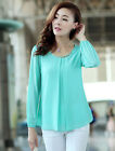 Women Tops Grace Long Sleeve Round Neck Chiffon Solid Body Con Blouse