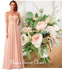 BNWT ANNA Peach Blush Lace Chiffon Maxi Bridesmaid Ballgown Dress Sizes UK 6 -18