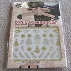 Nail Art Stickers & Water Slides - Silver & Gold Metallic Christmas Pooh Kiss