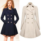 fASHION Womens Double Breasted Flare Long Trench Coat Parka Outwear Tops Jackets