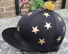 Riding Hat Silk Skull cap Cover BLACK * GOLD MULTI STARS With OR w/o Pompom