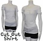 Plus Size Cute Cut Out Ripped Arms & Front Short Sleeve Shirt 1XL 2XL 3XL White