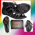 New in Box Crown by Born Grammercy Gladiator Sandals  BLACK Leather Size:7