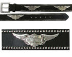 Harley-Davidson Mens B&S Chrome Wing Concho Black Studded Leather Belt by LODIS