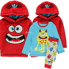Boys George Monster 3 Piece Cotton Pyjama Set Fleece Hooded Top Ages 2-10 Years