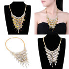 Fashion Gold Silver Chain Crystal Acrylic Bib Choker Cluster Pendant Necklace