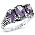 COLOR CHANGING LAB ALEXANDRITE ANTIQUE DECO STYLE .925 STERLING SILVER RING,#422