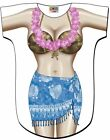 Blue Sarong Hawaii Bikini Swimsuit Cover Up Tee T-Shirt Cruise Party Costumes