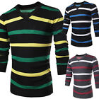 Mens Long Sleeve Casual Slim Fit top Dress Shirt Sweater Jumpers V-Neck Knitwear