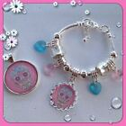 SUPER GORGEOUS LITTLE GIRLS PINK SUGAR SKULL SILVER NECKLACE BRACELET OR SET