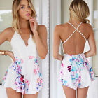 Sexy Women Floral Backless Strap V Neck Mini Rompers Bodysuit Jumpsuit Stylish