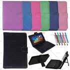 For Android Universal 7'' Tablet Leather Kickstand Case Wired Micro USB Keyboard