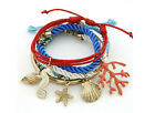 Summer new Fashion 5pcs/set shell/starfish/hippocampus pendant bracelet seaside