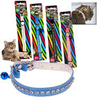 PET CAT KITTEN ELASTICATED SAFE ADJUSTABLE COLLAR BUCKLE DIAMANTE BELL PLASTIC
