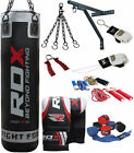RDX 13 Piece Boxing Set 5ft Filled Heavy Punch Bag,Gloves,Bracket,Chains Pad Blk