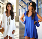 Womens Sexy Summer Beach/Casual loose chiffon v-neck mini dress fashion New