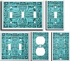 IMAGE OF FLORAL TILE TURQUOISE LIGHT SWITCH COVER PLATE  U PICK PLATE SIZE