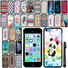 For Apple iPhone 5C Light Lite SLIM FIT PATTERN HARD Case Back Phone Cover + Pen
