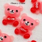 Kawaii Flat Back Resin Teddy Sending Love Cabochon Decoden