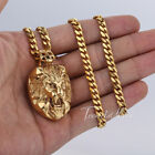 Silver Gold Tone 316L Stainless Steel Lion Head Pendant Necklace Mens Chain Boys