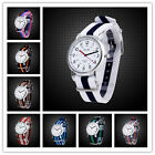 Stripe Nylon Band Dial Quartz Watch Men Women Unisex Wristwatch Birthday Gift