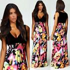 Women's Ladies Floral Pattern Long Summer Party Dress Maxi Cocktail Dress S M L