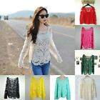 Semi Sheer Women Sleeve Embroidery Floral Lace Crochet T-Shirt Top Blouse DJNS