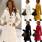 Womens  Warm Wool Blend Slim Military Trench Belted Long Coat Jacket cOATS MC#