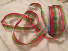 Bright Gingham Hot Pink Lime Green & White Chequered - Luxury Wire Edged Ribbon