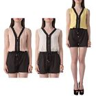 Hidden Fashion Womens Ladies Color Block Playsuit With Visible Front Zipper.